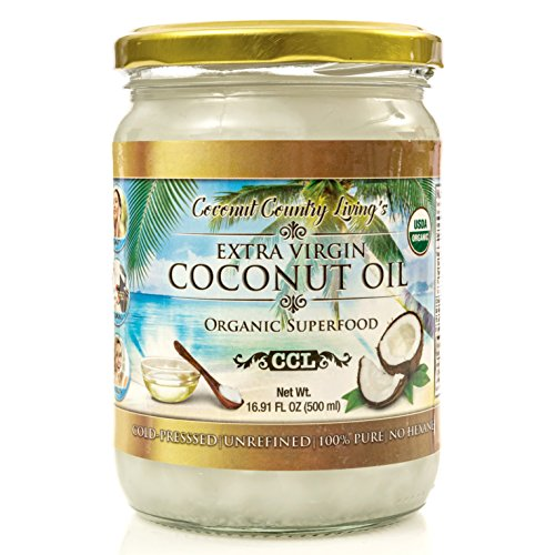 Organic Coconut Oil 16.91 oz Extra Virgin Unrefined Cold Pressed for Cooking, Hair and Skin Lotion (Even Stretch Mark)