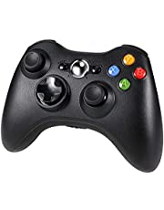 Diswoe Xbox 360 Controller, Wireless Game Controller di Gioco per Microsoft Xbox 360 PC Windows 7/8/10, doppia vibrazione, design ergonomico - Nero