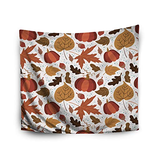Jacrane Tapestry Wall Hanging with 50x60 Inches Halloween Pattern Pumpkin Aspen Oak Maple Leaves White Background Perfect Art Tapestries for Bedroom Living Room Home Decor Wall Hanging Tapestries]()