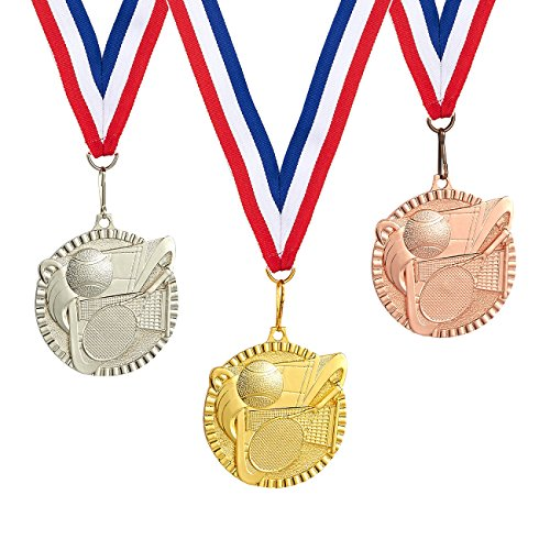 3-Piece Award Medals Set - Metal Olympic Style Tennis Gold, Silver, Bronze Medals for Sports Games, Competitions, Party Favors, 2.3 Inches in Diameter with 32-Inch Ribbon (Tennis Medallion)