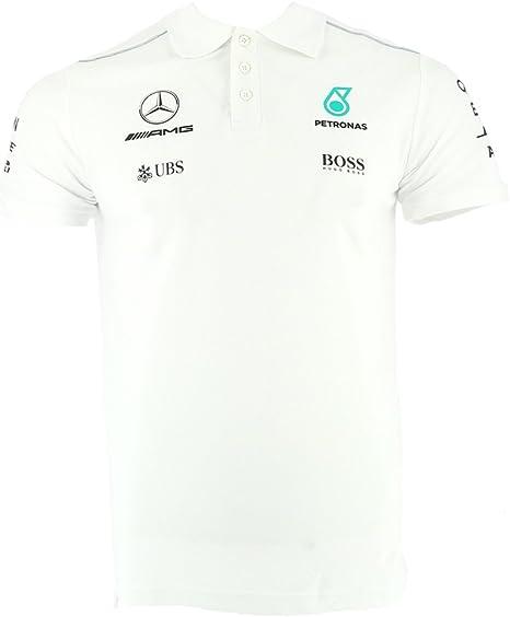 Mercedes AMG F1 Replica Team Driver Puma Polo Camisa Blanco Oficial 2017: Amazon.es: Deportes y aire libre