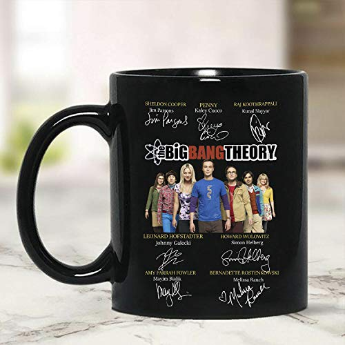 Big Bang Theory Characters Signatures Mug Black Ceramic 11oz Coffee Tea Cup -