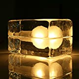 Zehui Glass Desk Light Nightlights for Home Decor Ice Block Cube Table Lamp Warm Light
