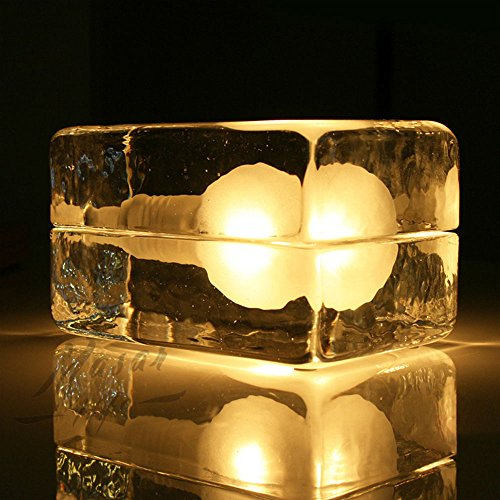 Zehui Glass Desk Light Nightlights for Home Decor Ice Block Cube Table Lamp Warm Light by Zehui