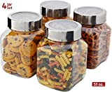 plastic ball jar glasses - Plastic Storage Jars With Lids; Milton Food Storage Containers 4 Pack 50 oz. Clear Square Lightweight PET Canisters;Wide-Mouth, Airtight Lids Caps; Large Big Clear Empty Multi-Purpose Jars BPA Free