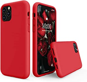 SURPHY Silicone Case Compatible with iPhone 11 Pro Max Case 6.5 inches, Liquid Silicone Full Body Thickening Design Phone Case (with Microfiber Lining) for 11 Pro Max 2019, Red