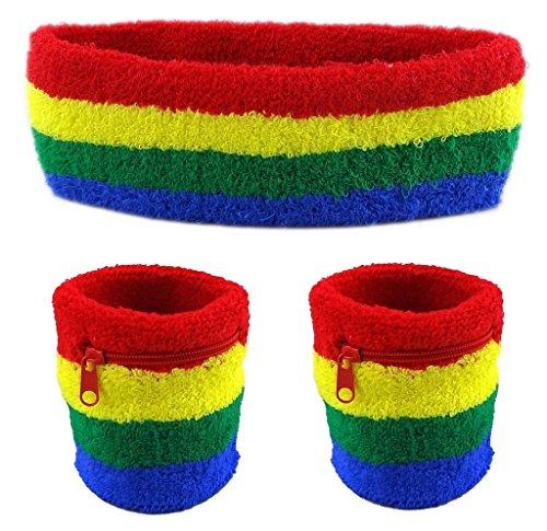 Funny Guy Mugs Unisex Sweatband Set (3-Pack: 2 Wristbands with Zipper/Wrist Wallet & 1 Headband), (Hip Hop Costume Images)
