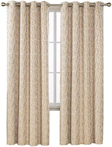 Deconovo Grommet Total Blackout Curtains with Triple-Pass White Coating Back Layer with Painting Pattern Thermal Insulated Window Curtains for Kids Room Gold 2 Panels 52 X 95 Inch