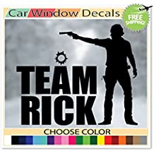 (Black) Team Rick The Walking Dead Zombie Rick Grimes Supporter Car Window Decal Bumper Sticker Laptop Skin Choose Color!