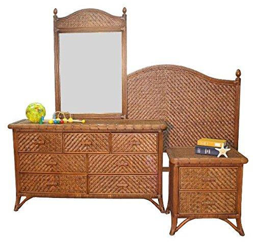 jamaica antique stain rattan and wicker 4 piece bedroom