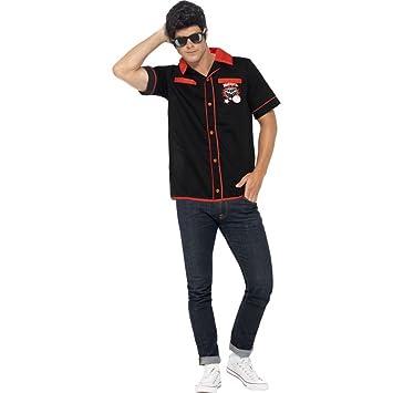 50er Jahre Herren Kostum Bowling Shirt Hemd Karneval Fasching Gr M