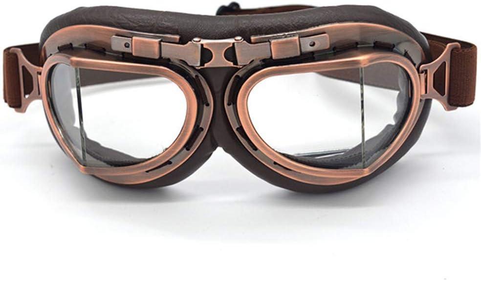 Sunall Motorrad Schutzbrille Gläser Motorrad Vintage Biker Radfahren Ski Retro Sonnenbrille Reiten Driving Brille Männer Frauen Sport Im Freien Color Clear Sport Freizeit