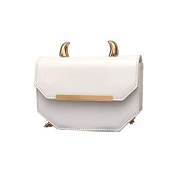 BBestseller Moda Mujer Bolsa de Hombro de PU Impermeable Cadena Salvaje Bolsa de Mensajero Bolso de Mano de Viaje (15CM*5CM*13CM, Blanco): Amazon.es: ...