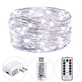 small bedroom decorating ideas HSicily Fairy Lights Plug in, USB Christmas Lights 8 Modest 100 LED 33ft String Lights with Remote Control Timer for Wedding Party Bedroom Indoor Outdoor Decorations