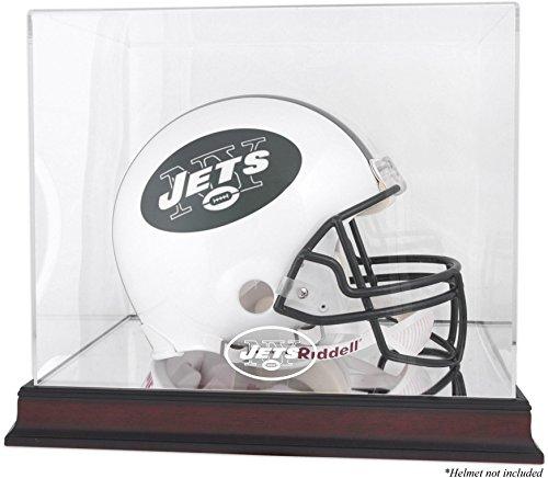 New York Jets Mahogany Helmet Logo Display Case and Mirror Bottom and Back