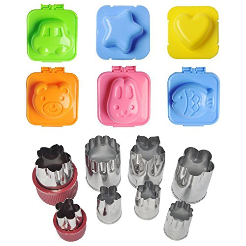 PYS Bundle of Egg Sushi Rice Mold and Vegetable Cutter Shapes Set, 6 Sets of Rice Mold and 8 Pieces Fruit Cookie Cutter Mould Cake Cheese Stamps Cute Bento Accessories for Customized Kids Food Making