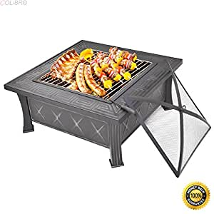 """COLIBROX--32"""" Square Metal Firepit Patio Garden Stove Fire Pit Outdoor Brazier With Poker,metal art fire pits,steel fire pits outdoor,fire pit ring,New Wonderful Metal Fire Pit,fire pit sale"""