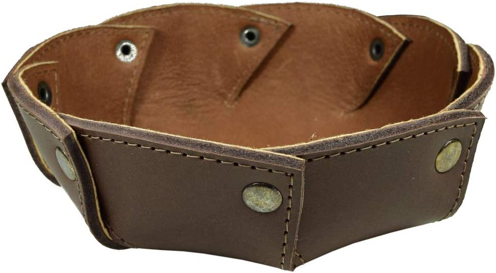 Hide & Drink, Thick Rustic Leather Catchall Riveted Circular Valet Tray, Dice Holder, Cash Holder, Key Organizer, Home & Office Accessories, Handmade Includes 101 Year Warranty :: Bourbon Brown
