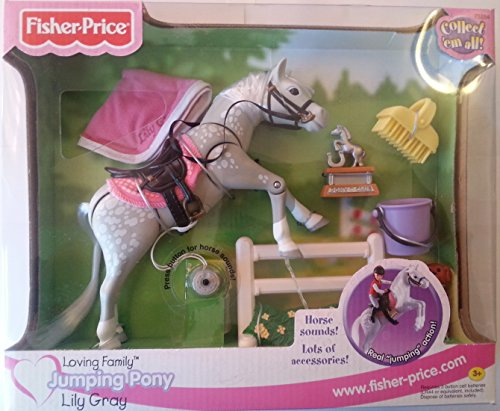 Fisher Price Loving Family Horse - Fisher-Price Loving Family Dollhouse Jumping Pony Horse Lily Gray