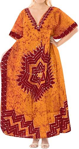 LA LEELA Batik Caftans for Women Long Kaftan Sleepwear Orange_Q317 Plus Size