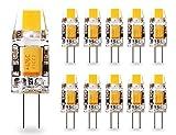 led bi pin bulbs - G4 LED Bulb 1.2W KLGlamp Bi-Pin LED COB Light Bulbs (12W Halogen Equivalent) 120LM 2700K Warm White AC/DC 12V 360° Beam Angle, Pack of 10