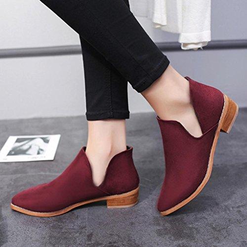 Fheaven Dames Faux Stevige Warme Laarzen Enkellaarzen Lage Schoenen Antislip (us: 6.5, Zwart) Rood
