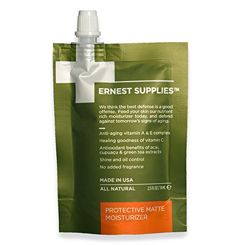 Ernest Supplies Protective Matte Moisturizer (0001) - 74ML On-The-Go Pouch - Premium, Plant-Based Anti-Aging Face Lotion to Control Oil and Shine, with Antioxidants, 2.5 Oz.