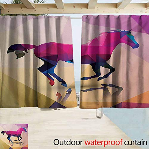 (AndyTours Custom Curtain,Geometric Shaded Geometric Abstract Horse Animal Pattern Indie Novelty Symbol Print,Draft Blocking Draperies,W72x72L Inches,Cream Pink Purple)