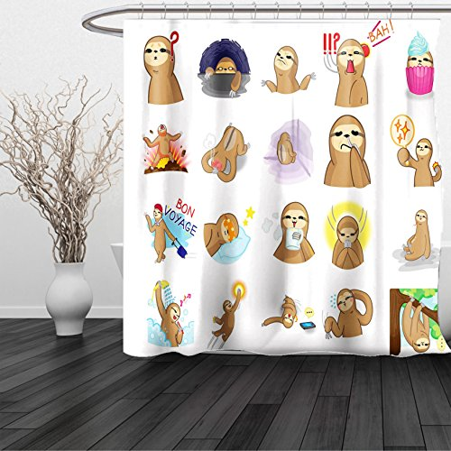 HAIXIA Shower Curtain Sloth Set of Manga Style Sloth Characters with Different Expression and Poses Cute Humorous - Style Minaj Nikki