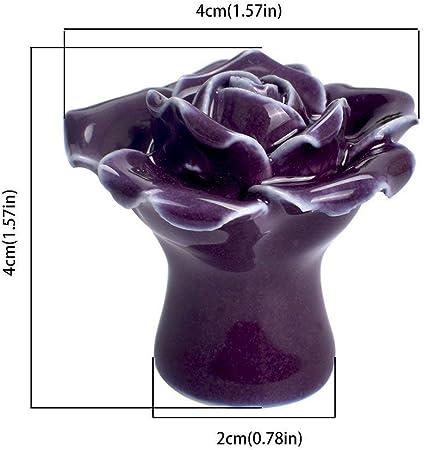 viola cassetto e cucina per porta Eidoct 10 pomelli in ceramica vintage a forma di rosa con fiori di rosa con viti