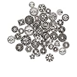Bead cap mix antiqued sterling silver 6x3mm-16x8mm mixed shape