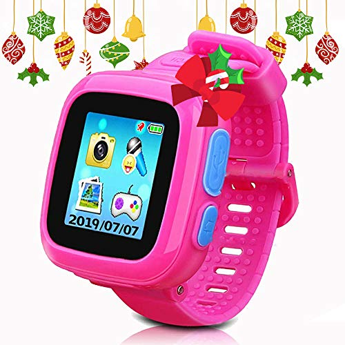 DUIWOIM Kids Game Smartwatch Digital Smart Watches Photo Sticker Camera Mini Games Alarm Clock Timer Health Monitor Pedometer Birthday Gifts for Boys and Girls Age 3-12 Years?Pink?