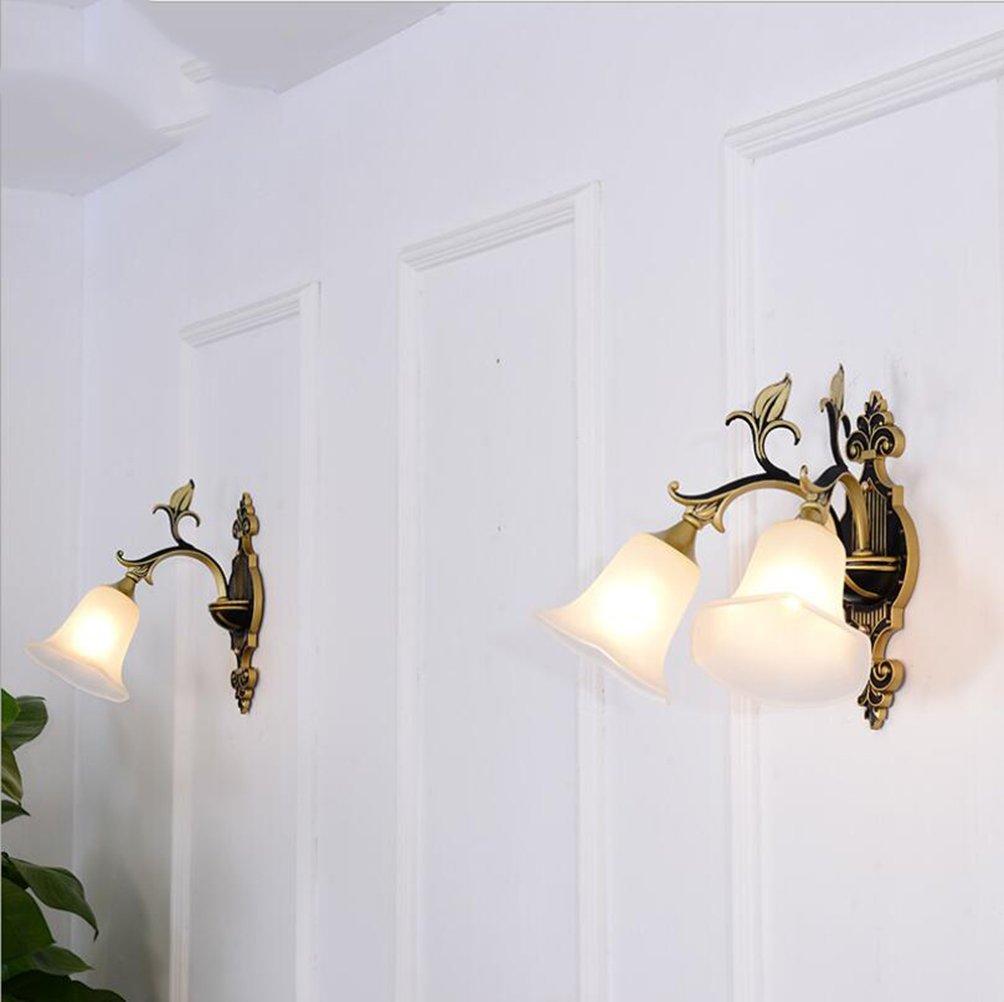 ウォールランプ亜鉛合金ウォールライトグラスシェードレトロスタイルベッドサイドウォールライト220v E14寝室、リビングルーム、バーカウンター、装飾的な壁ランプ (色 : B) B07DHG14Y7 13278  B