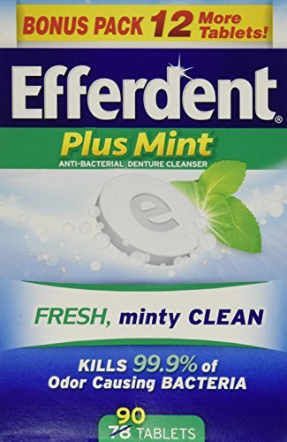 (Efferdent Plus Mint Anti-Bacterial Denture Cleanser Tablets, 90 Count - Buy Packs and SAVE (Pack of 3))