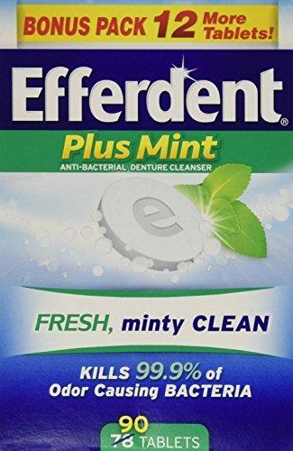 Efferdent Plus Mint Anti-Bacterial Denture Cleanser Tablets, 90 Count - Buy Packs and SAVE (Pack of 3) - Efferdent Plus Tab