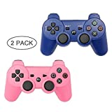 PS3 Controller 2 Pack Wireless Bluetooth Six Axis Controllers Gamepad for PlayStation 3 Dualshock 3 (Blue+Pink)