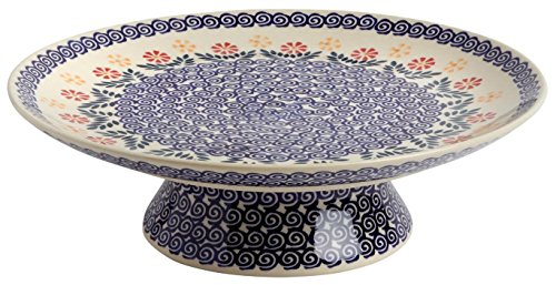 - Polish Pottery Cheery Flowers Blossoms Ceramic Cake Stand, 12.5