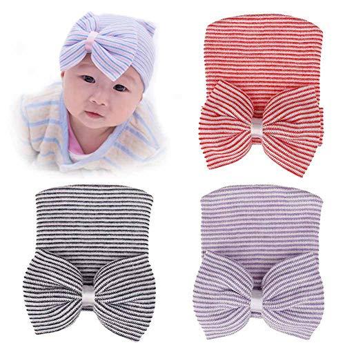 Udolove Baby Headband Set- Girl Soft Turban Knot Rabbit Headwrap Hospital Hat (3pcs Stripe Bow - Stripes Headwrap