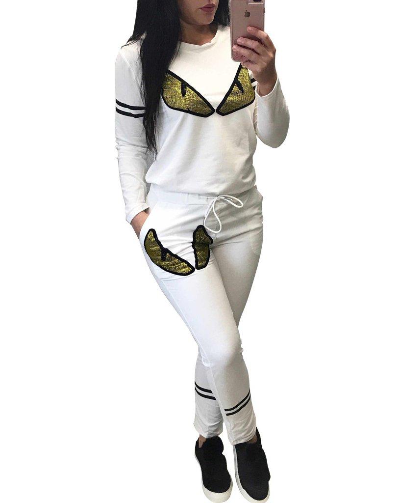 Women's 2 Pieces Outfits Prints Bodycon Sweatsuits Set Tracksuits Medium White