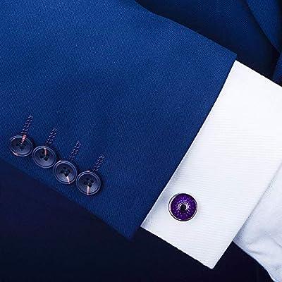 Accesorios de Camisa de Gemelos Para Hombres Ronda púrpura camisa de vestir y Gemelos gemelos clásicos regalo camisa de la boda la graduación traje traje de negocios caja de regalo de los