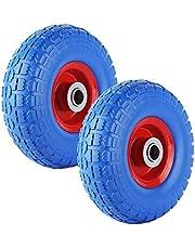 Forever Speed PU - massief rubberen wielen kruiwagenwiel wiel steekwagen wiel pechbestendig 260 x 80 mm PU op stalen velg zwart 3.50-4 maximale belasting 80 kg (2 stuks)