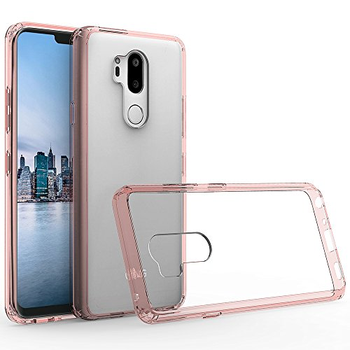 LG G7 Case,LG G7 ThinQ Case with HD Screen Protector,Crystal Transparent Clear Heavy Duty Protective Ultra Slim Shock-Absorption Anti-Scratch Anti-Yellow Hard PC Cover for LG G7 (Rose Gold)
