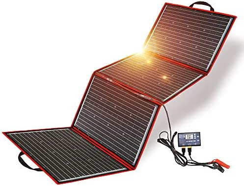 Amazon Com Dokio 200w Foldable Solar Panel Kit Lightweight 9lb 28x20 Inch Monocrystalline High Efficiency With Controller Usb Output To Charge 12v Batteries All Types Vented Agm Gel Rv Camper Boat Garden