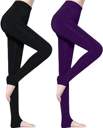AIMTOP 2 Pack Leggins Termicos Mujer, Leggins Mujer Invierno Terciopelo Elástico Leggings Mujer Invierno, Mallas Termicas Mujer Pantalon Termico, Leggings Negros + Púrpura