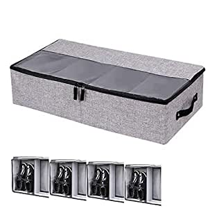 XINING Underbed Under bed Shoe Storage Bag Containers Organiser Shoes Box with Hard Base and Sides for 4 Pairs Shoes (4 Compartment)