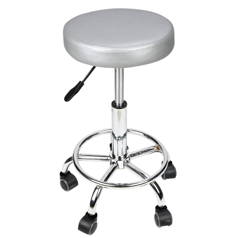 Circular Cushion Rolling Salon Work Stool Massage Barber Stool Hydraulic Circular Cushion Rolling Chair With Foot Rest(Gray) by Ian (Image #2)