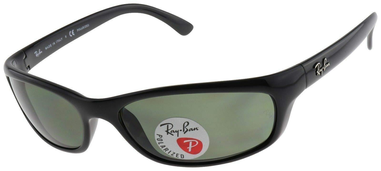 RAY-BAN RB4115 Rectangular Sunglasses, Black/Polarized Green, 57 mm by RAY-BAN