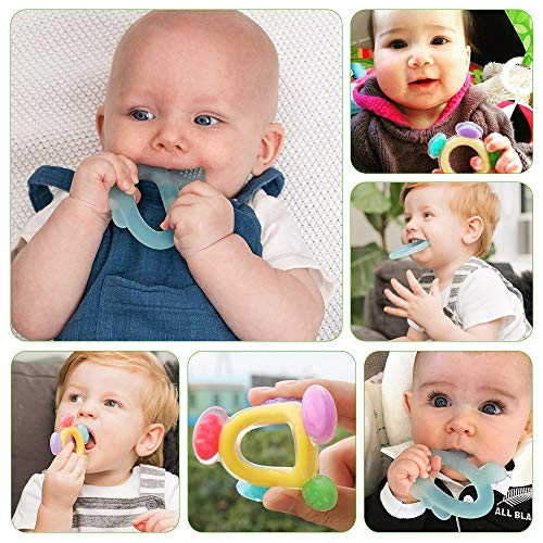 Haakaa Silicone Baby Teethers Set - Baby Teething Toys Soft & Flexible for Teething Baby 3 Months+ Soothing Sore Gums, Colourful Ferris Wheel & Blue Rabbit Ear Teethers for Babies