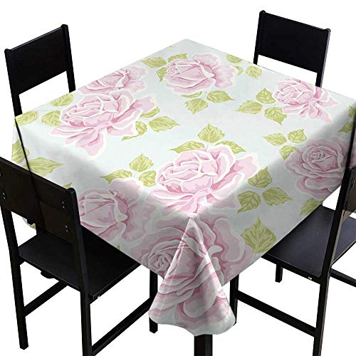 (Warm Family Oil-Proof and Leak-Proof Tablecloth Seamless Wallpaper Pattern with Roses Indoor Outdoor Camping Picnic W54 x L54)