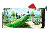 Splendid Peacocks Fountain Customized Magnetic Mailbox Cover Home Garden Cute MailBox Wraps Vinyl with Magnet On Back